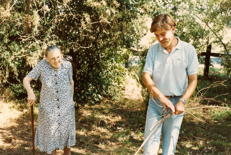 Jean Galbraith, (aged about 90), and me (aged about 26), in her garden in Tyers, Victoria